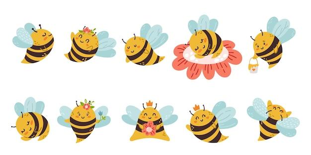 Bambini del fumetto dell'ape del miele isolati