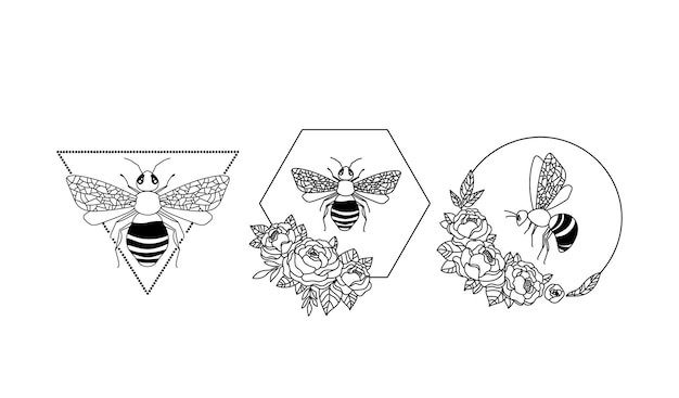 Ape del miele clipart cornice floreale dell'ape elementi isolati su bianco insetti e fiori di peonia grafica