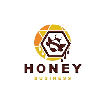 Design del logo colorato ape del miele