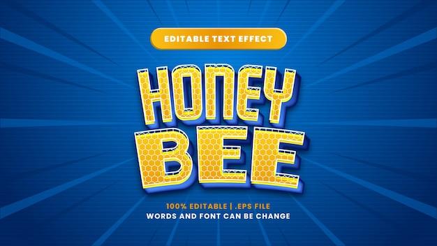 Effetto di testo modificabile ape del miele in moderno stile 3d