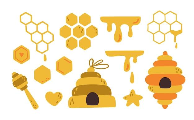 Gli elementi dell'ape del miele hanno isolato il pacchetto di clip art. favi e alveare dei cartoni animati