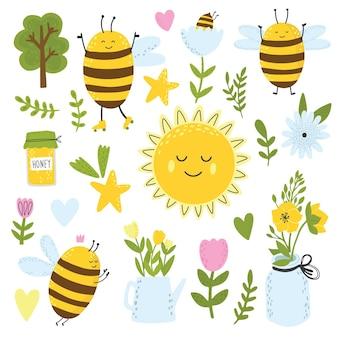 Fiori di api e clipart arcobaleno raccolta di elementi primaverili elementi di scrapbooking