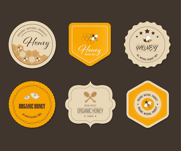 Etichetta e banner di miele delle api. logo elemento naturale design del prodotto naturale.