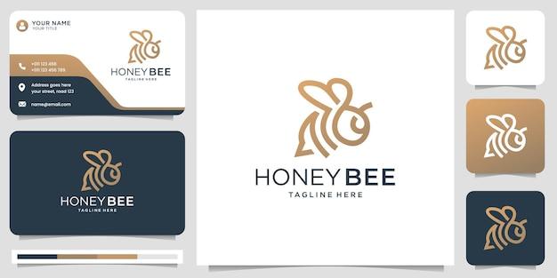 Linea e biglietto da visita dell'ape del miele
