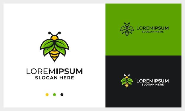 Modello di progettazione di logo di ape del miele con modello di logo di concetto di foglia di ala di natura