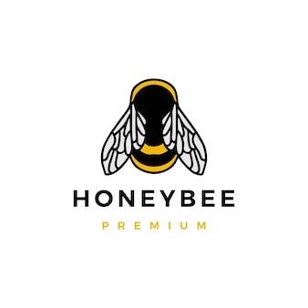 Illustrazione dell'icona di vettore del logo dell'ape del miele