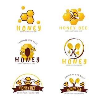 Il miele delle api pappa reale dolce sting fiore selvaggio vaso nido regina esagono illustrazione icona carattere