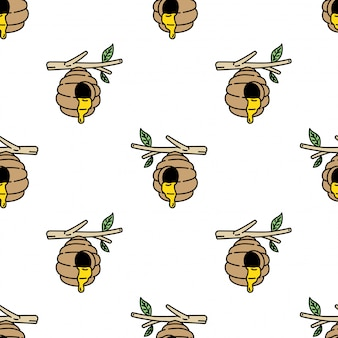 Cartone animato di favo ape alveare senza cuciture pettine
