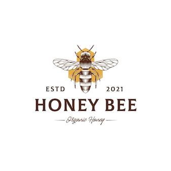 Modello di logo vintage honey bee