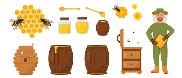 Set miele e apicoltura. apicoltore con favi, alveare, api e miele. illustrazione delle icone su priorità bassa bianca.