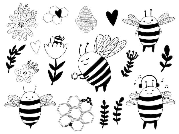 Fascio di api mellifere carino contorno. ape con miele e fiori.