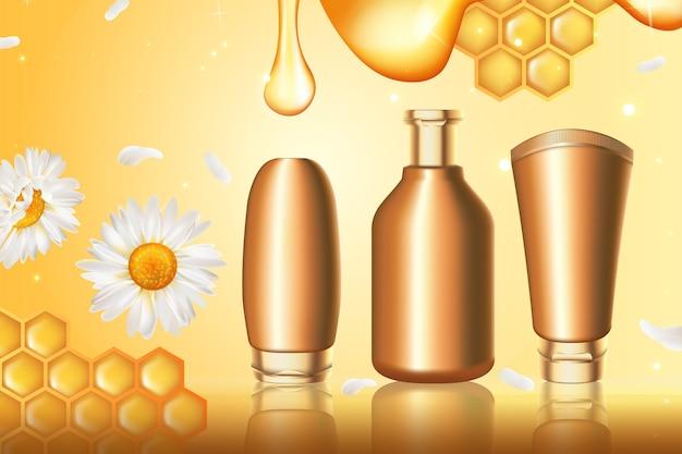 Illustrazione di serie di cosmetici al miele.