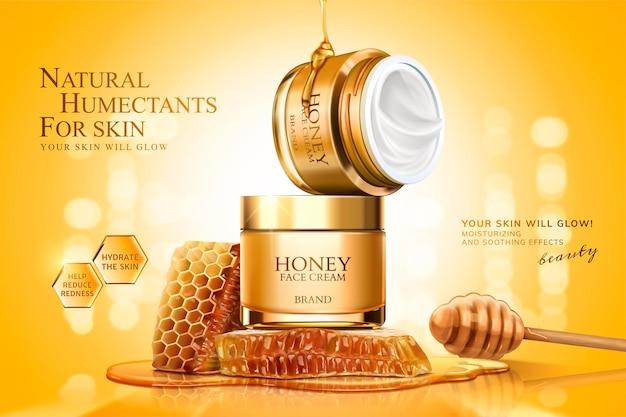 Banner di vasetto di crema di miele con favi e mestolo su superficie scintillante dorata, illustrazione 3d