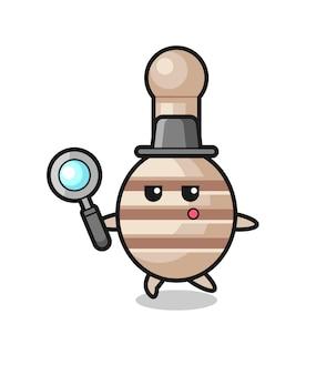 Personaggio dei cartoni animati di miele mestolo che cerca con una lente d'ingrandimento, design carino