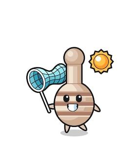 L'illustrazione della mascotte del merlo acquaiolo del miele sta catturando una farfalla, un design carino