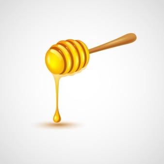 Mestolo di miele su sfondo bianco illustrazione vettoriale Vettore Premium