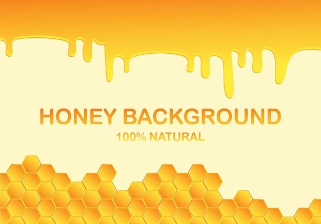 Gocciolamento del miele, gocce dal fondo del favo dell'ape. gocciolamento di miele, a nido d'ape,