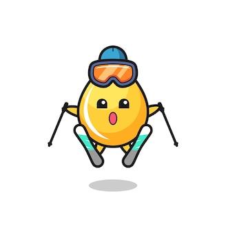 Personaggio mascotte goccia di miele come giocatore di sci, design in stile carino per t-shirt, adesivo, elemento logo