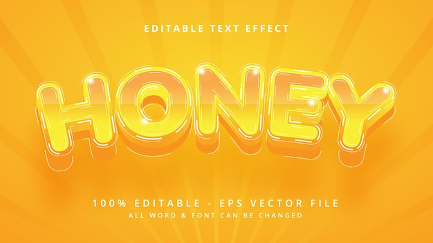 Effetto stile testo vettoriale 3d modificabile miele. stile di testo dell'illustratore modificabile.