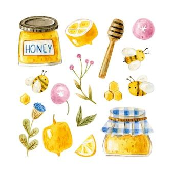 Collezione di elementi di miele con api mestolo di miele pettini di miele fiori limoni
