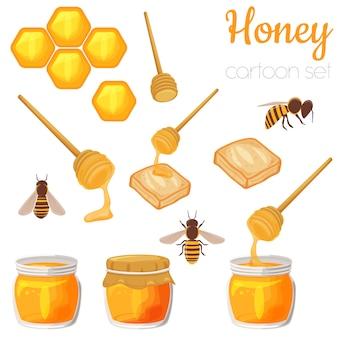 Insieme dell'illustrazione del fumetto degli elementi del miele, clipart sveglio isolato.