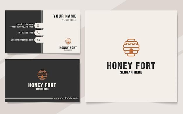 Modello di logo del forte di miele in stile monogramma