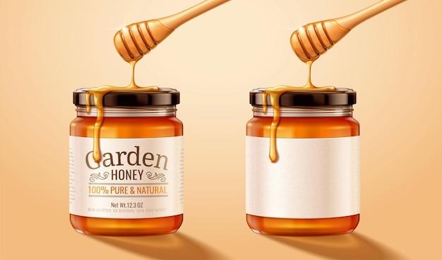 Barattolo di vetro miele con gocciolante liquido dolce