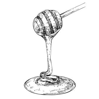 Il miele gocciola dal cucchiaio di legno schizzo grafico miele che scorre inh illustrazione disegnata a mano