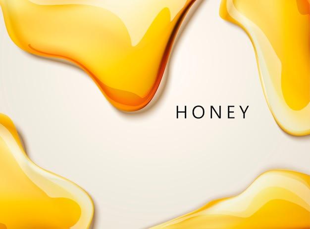 Consistenza liquida miele, miele dorato nell'illustrazione per usi