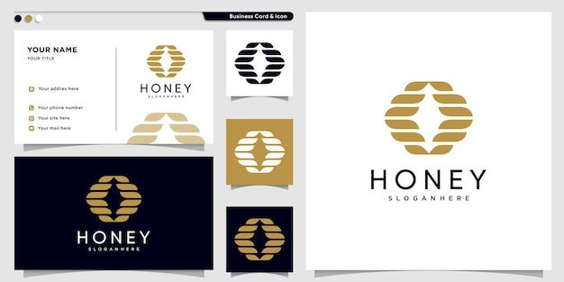 Logo del miele con concetto astratto creativo vettore premium