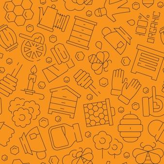 Modello di miele. honeybee pettine liquido sano apiario prodotti simboli vettore sfondo senza giunture. modello di miele, ape e illustrazione a nido d'ape