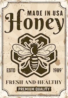 Poster di miele in stile vintage per la pubblicità del prodotto