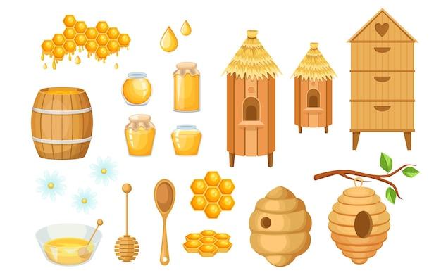 Prodotti e attrezzature dell'apiario per la produzione di miele, barattoli di vetro, alveare su albero, mestolo in legno e botte con ciotola