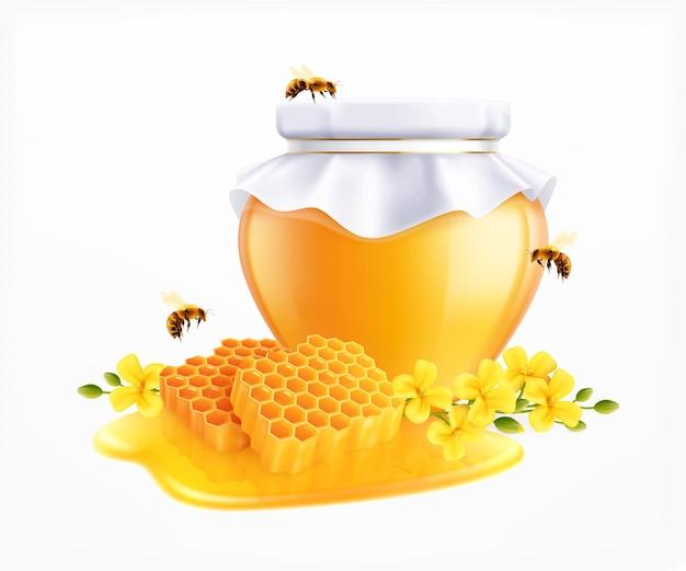 Illustrazione realistica del miele con lattina di vetro isolata con tappo di carta fatto da sé e api