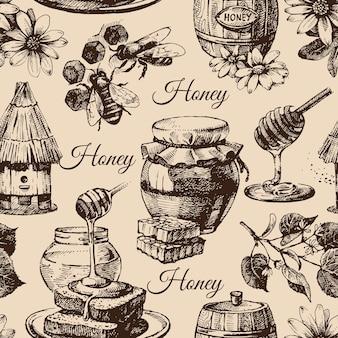 Modello senza cuciture di miele con illustrazione di schizzo disegnato a mano