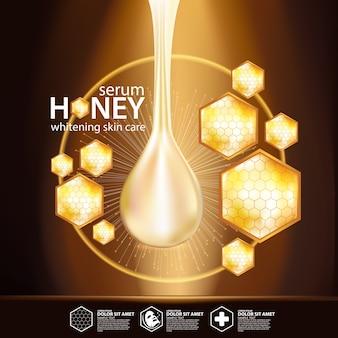 Miele siero sfondo concetto cura della pelle cosmetici