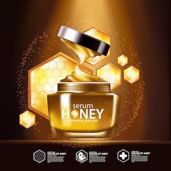 Miele siero concetto di sfondo la cura della pelle cosmetica