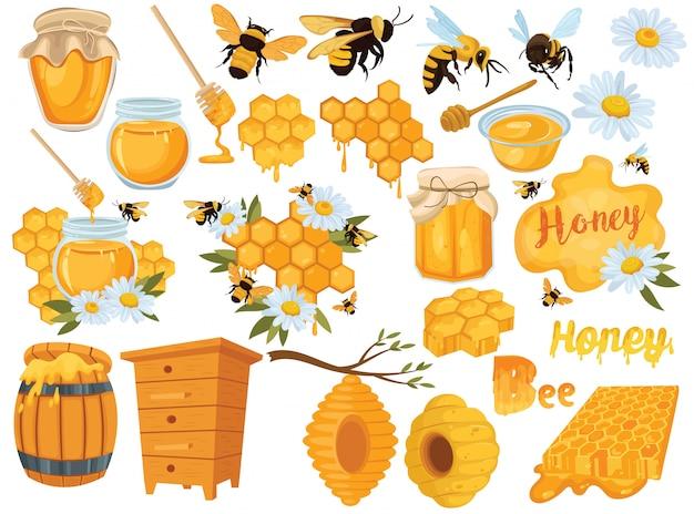 Set di miele raccolta di apicoltura. illustrazione di alveare, api e favi.