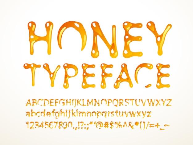 Carattere tipografico di miele. lettere az, az, numeri e simboli