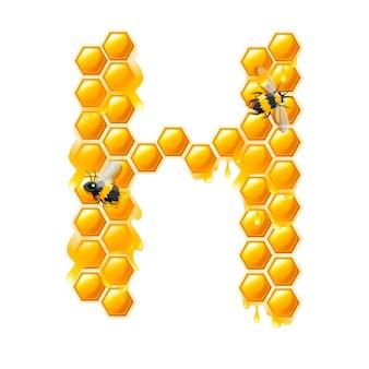 Lettera h a nido d'ape con gocce di miele e illustrazione vettoriale piatto ape isolato su sfondo bianco.