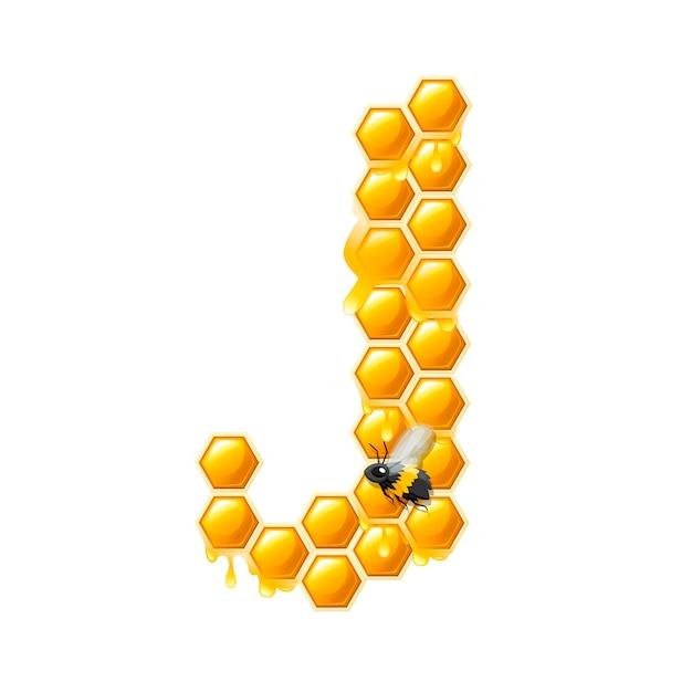 Lettera a nido d'ape j con gocce di miele e illustrazione vettoriale piatto ape isolato su sfondo bianco.