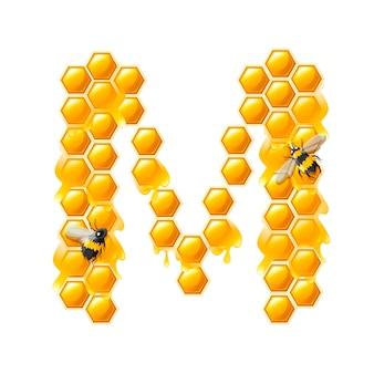 Lettera a nido d'ape m con gocce di miele e illustrazione vettoriale piatto ape isolato su sfondo bianco.