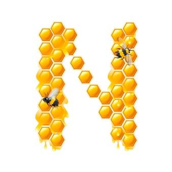 Lettera n a nido d'ape con gocce di miele e illustrazione vettoriale piatto ape isolato su sfondo bianco.