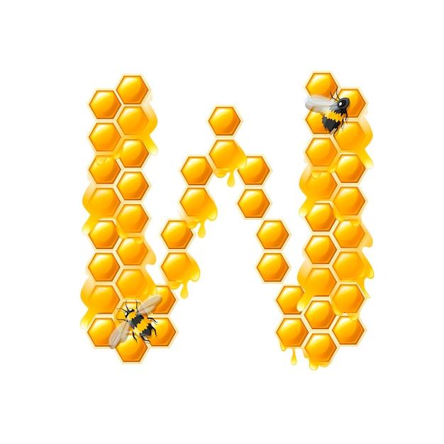 Lettera w a nido d'ape con gocce di miele e illustrazione vettoriale piatto ape isolato su sfondo bianco.