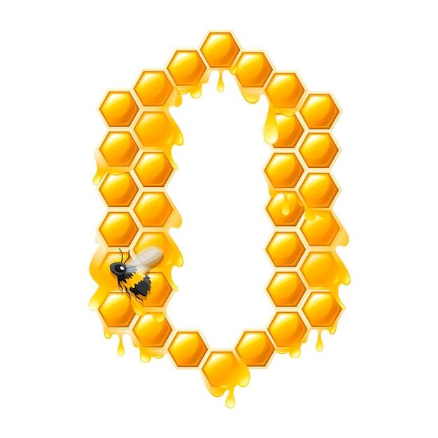 A nido d'ape numero 0 con gocce di miele e ape in stile cartone animato food design piatto illustrazione vettoriale isolato su sfondo bianco.