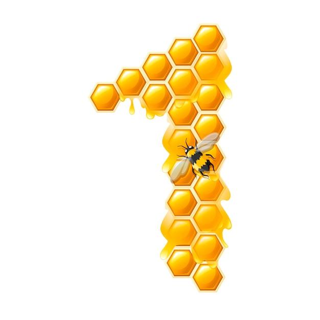 A nido d'ape numero 1 con gocce di miele e ape in stile cartone animato cibo design piatto illustrazione vettoriale isolato su sfondo bianco.