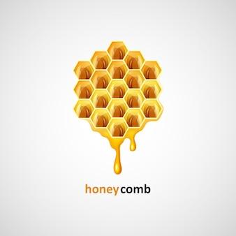 Favi a forma di illustrazione vettoriale liquido di miele esagonale
