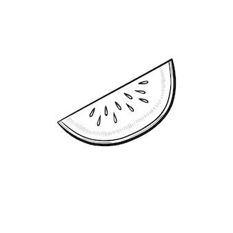 Icona di doodle di contorno disegnato a mano di melata. fetta di illustrazione di schizzo di vettore di frutta melone per stampa, web, mobile e infografica isolato su priorità bassa bianca.