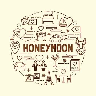 Set di icone di linea sottile minimal luna di miele