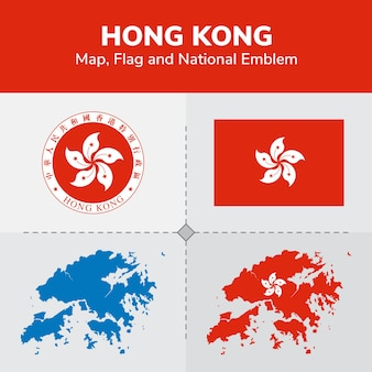 Mappa, bandiera e emblema nazionale di hong kong